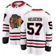 Fanatics Branded Chicago Blackhawks 57 Kenton Helgesen White Breakaway Away Men's NHL Jersey