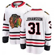 Fanatics Branded Chicago Blackhawks 31 Lars Johansson White Breakaway Away Men's NHL Jersey