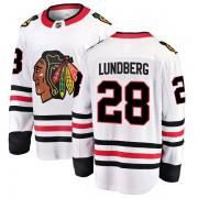 Fanatics Branded Chicago Blackhawks 28 Martin Lundberg White Breakaway Away Men's NHL Jersey