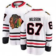 Fanatics Branded Chicago Blackhawks 67 Jacob Nilsson White Breakaway Away Men's NHL Jersey