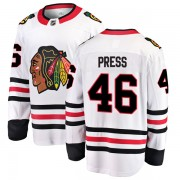 Fanatics Branded Chicago Blackhawks 46 Robin Press White Breakaway Away Men's NHL Jersey