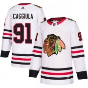 Adidas Chicago Blackhawks 91 Drake Caggiula Authentic White Away Youth NHL Jersey
