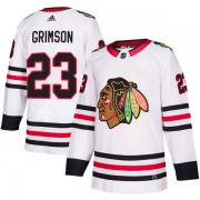 Adidas Chicago Blackhawks 23 Stu Grimson Authentic White Away Youth NHL Jersey
