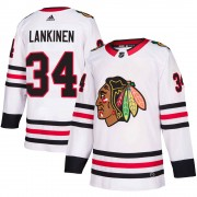 Adidas Chicago Blackhawks 34 Kevin Lankinen Authentic White ized Away Youth NHL Jersey
