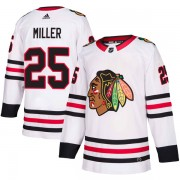 Adidas Chicago Blackhawks 25 Drew Miller Authentic White Away Youth NHL Jersey