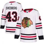 Adidas Chicago Blackhawks 43 Viktor Svedberg Authentic White Away Youth NHL Jersey