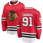 Fanatics Branded Chicago Blackhawks 91 Drake Caggiula Red Breakaway Home Youth NHL Jersey
