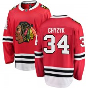 Fanatics Branded Chicago Blackhawks 34 Bryn Chyzyk Red Breakaway Home Youth NHL Jersey