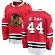 Fanatics Branded Chicago Blackhawks 44 Calvin de Haan Red Breakaway Home Youth NHL Jersey