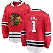 Fanatics Branded Chicago Blackhawks 1 Glenn Hall Red Breakaway Home Youth NHL Jersey
