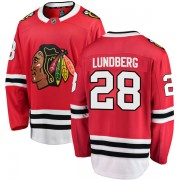 Fanatics Branded Chicago Blackhawks 28 Martin Lundberg Red Breakaway Home Youth NHL Jersey