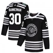 Adidas Chicago Blackhawks 30 Murray Bannerman Authentic Black 2019 Winter Classic Men's NHL Jersey