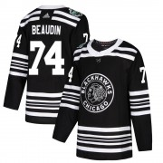 Adidas Chicago Blackhawks 74 Nicolas Beaudin Authentic Black ized 2019 Winter Classic Men's NHL Jersey