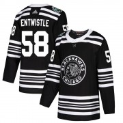 Adidas Chicago Blackhawks 58 Mackenzie Entwistle Authentic Black ized 2019 Winter Classic Men's NHL Jersey