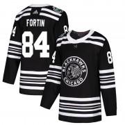 Adidas Chicago Blackhawks 84 Alexandre Fortin Authentic Black 2019 Winter Classic Men's NHL Jersey