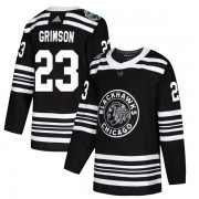 Adidas Chicago Blackhawks 23 Stu Grimson Authentic Black 2019 Winter Classic Men's NHL Jersey