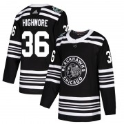 Adidas Chicago Blackhawks 36 Matthew Highmore Authentic Black 2019 Winter Classic Men's NHL Jersey