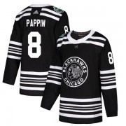 Adidas Chicago Blackhawks 8 Jim Pappin Authentic Black 2019 Winter Classic Men's NHL Jersey