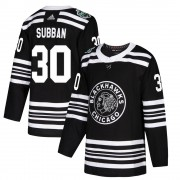 Adidas Chicago Blackhawks 30 Malcolm Subban Authentic Black ized 2019 Winter Classic Men's NHL Jersey