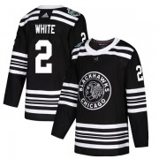 Adidas Chicago Blackhawks 2 Bill White Authentic White Black 2019 Winter Classic Men's NHL Jersey