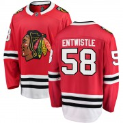 Fanatics Branded Chicago Blackhawks 58 Mackenzie Entwistle Red ized Breakaway Home Men's NHL Jersey