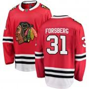 Fanatics Branded Chicago Blackhawks 31 Anton Forsberg Red Breakaway Home Men's NHL Jersey
