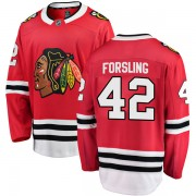 Fanatics Branded Chicago Blackhawks 42 Gustav Forsling Red Breakaway Home Men's NHL Jersey