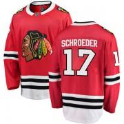 Fanatics Branded Chicago Blackhawks 17 Jordan Schroeder Red Breakaway Home Men's NHL Jersey