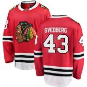 Fanatics Branded Chicago Blackhawks 43 Viktor Svedberg Red Breakaway Home Men's NHL Jersey