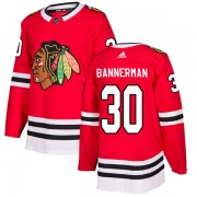 Adidas Chicago Blackhawks 30 Murray Bannerman Authentic Red Home Men's NHL Jersey