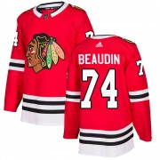 Adidas Chicago Blackhawks 74 Nicolas Beaudin Authentic Red ized Home Men's NHL Jersey