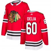 Adidas Chicago Blackhawks 60 Collin Delia Authentic Red Home Men's NHL Jersey
