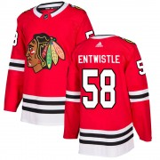Adidas Chicago Blackhawks 58 Mackenzie Entwistle Authentic Red ized Home Men's NHL Jersey
