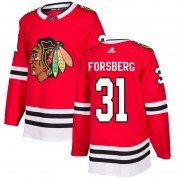 Adidas Chicago Blackhawks 31 Anton Forsberg Authentic Red Home Men's NHL Jersey