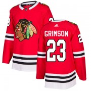 Adidas Chicago Blackhawks 23 Stu Grimson Authentic Red Home Men's NHL Jersey