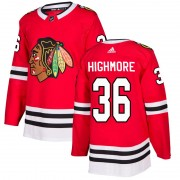 Adidas Chicago Blackhawks 36 Matthew Highmore Authentic Red Home Men's NHL Jersey