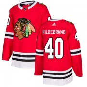 Adidas Chicago Blackhawks 40 Jake Hildebrand Authentic Red Home Men's NHL Jersey