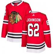 Adidas Chicago Blackhawks 62 Luke Johnson Authentic Red Home Men's NHL Jersey