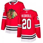 Adidas Chicago Blackhawks 20 Cliff Koroll Authentic Red Home Men's NHL Jersey