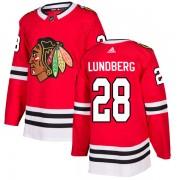 Adidas Chicago Blackhawks 28 Martin Lundberg Authentic Red Home Men's NHL Jersey