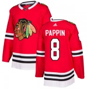 Adidas Chicago Blackhawks 8 Jim Pappin Authentic Red Home Men's NHL Jersey