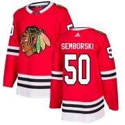 Adidas Chicago Blackhawks 50 Eric Semborski Authentic Red Home Men's NHL Jersey