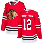Adidas Chicago Blackhawks 12 Pat Stapleton Authentic Red Home Men's NHL Jersey