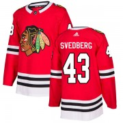 Adidas Chicago Blackhawks 43 Viktor Svedberg Authentic Red Home Men's NHL Jersey