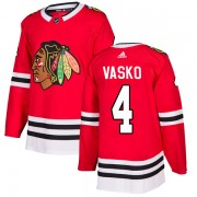 Adidas Chicago Blackhawks 4 Elmer Vasko Authentic Red Home Men's NHL Jersey