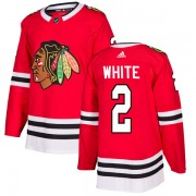 Adidas Chicago Blackhawks 2 Bill White Authentic White Red Home Men's NHL Jersey