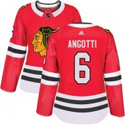 Adidas Chicago Blackhawks 6 Lou Angotti Authentic Red Home Women's NHL Jersey