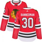 Adidas Chicago Blackhawks 30 Murray Bannerman Authentic Red Home Women's NHL Jersey