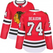 Adidas Chicago Blackhawks 74 Nicolas Beaudin Authentic Red ized Home Women's NHL Jersey