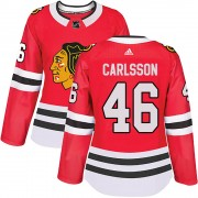 Adidas Chicago Blackhawks 46 Jonathan Carlsson Authentic Red Home Women's NHL Jersey